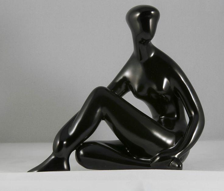 Royal Dux Nude Woman Sitting Knee Up Black Porcelain Figurine Czechoslovakia