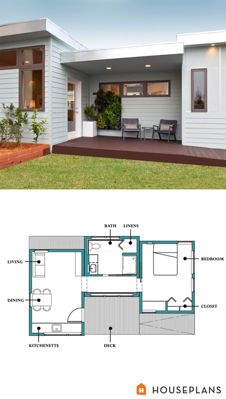Small modern in-law cottage 500sft. 1 bedroom 1 bathroom by Larsen Shores. Hosueplans plan #507-1