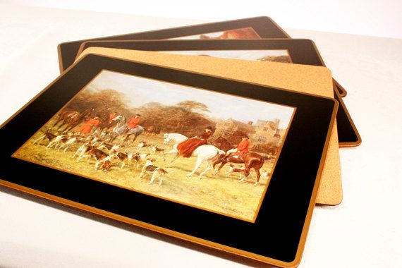Vintage Pimpernel Acrylic Traditional Placemats - Tally Ho Horse Fox Hunt - Set of 4 with Original Box  by SFKvintage, $48.00