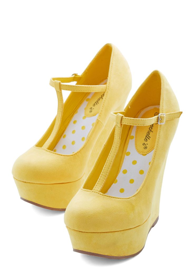 Take It from the Taupe Wedge in Sunshine. Tapping the toe of your platform heel to the beat of the drums, you glance out at a stadium that will soon be filled with your most devoted fans. #yellow #modcloth