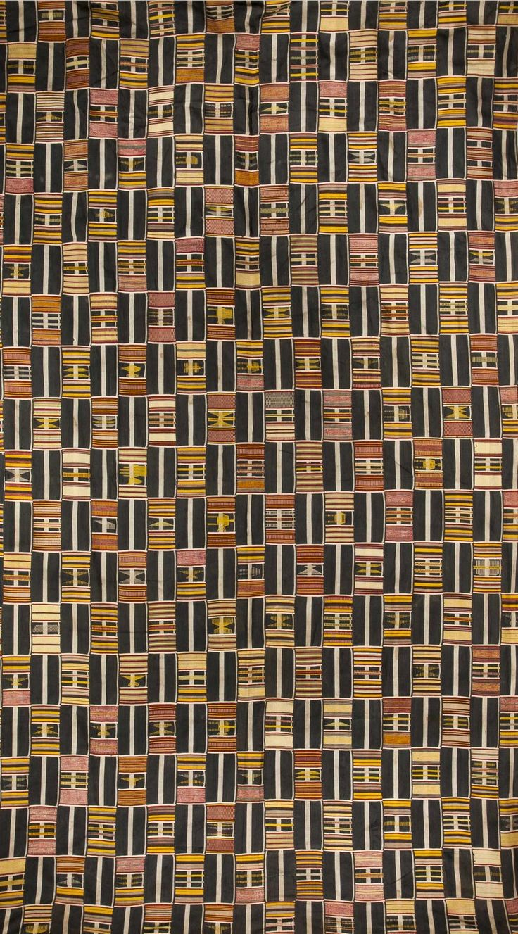 Africa | 'Kente' from the Ewe people of Togo | Strip woven; with patterns of figural design such as birds, hands, chevrons and human figures