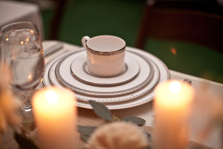 "Our Registry China used as our place settings on our wedding day. Vera Wang for Wedgewood ""grosgrain"" mixed with Lenox ""Lace Couture"""