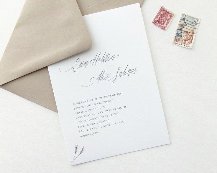 Erin Wedding Invitation | Classic, timeless letterpress wedding invitations from August + White | Simple Wedding Invitation | Wedding Invites | Save the Dates | Wedding Stationery