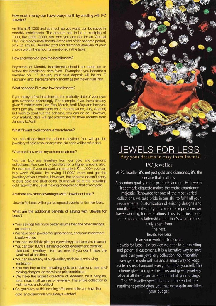 Jewel For Less is an incredible scheme by PC Jeweller that lets you plan your jewellery purchases in advance. PCJ helps you invest monthly to plan for a bigger purchase at the end of the term