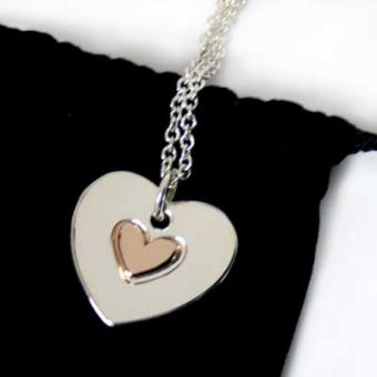 Rose Gold & Silver Heart Flip Necklace #personalizedgifts #love