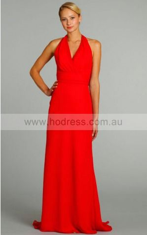 Chiffon Halter Natural A-line Floor-length Bridesmaid Dresses 0740470--Hodress