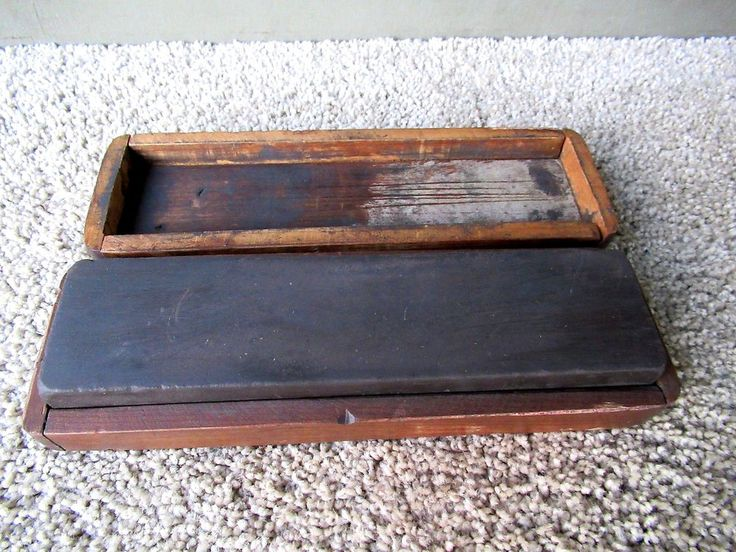 Vintage Sharpening Stone Whetstone Primitive Cedar Wood Case, Two Grits