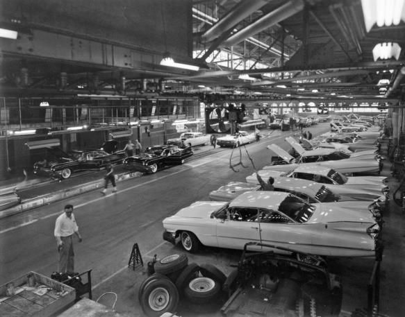 1959 Cadillac's on the assembly line at the Clark Street plant