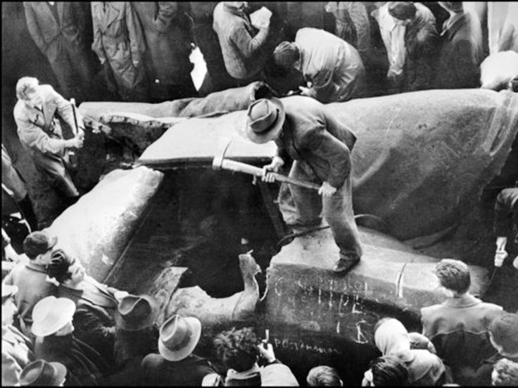 On the night of the 23 October 1956, First Secretary Ernő Gerő broadcast a speech condemning the writers' and students' demands. Angered by this, some demonstrators decided to remove Stalin's 30-foot-high bronze statue that was erected in 1951 on the site of a church which was demolished to make room for the monument. By 21:30, the statue was toppled and crowds celebrated by placing Hungarian flags in Stalin's boots which was all that was left of the statue