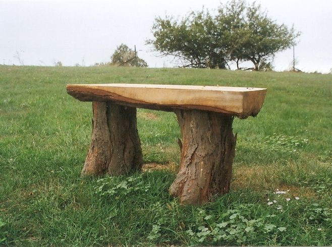 Log benches stumpf farm woodcrafters portfolio for Tree trunk garden bench