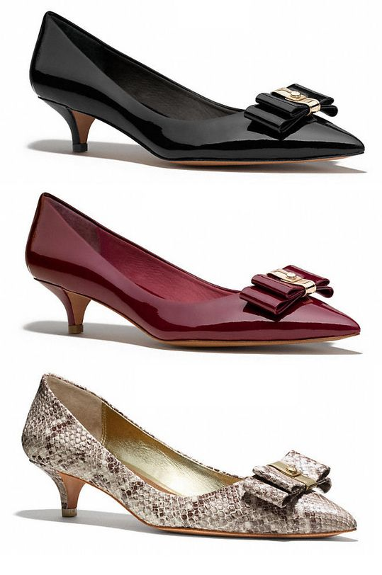 Kitten heels are back! Love these Coach Mandy heels.  More in the Coquette roundup.