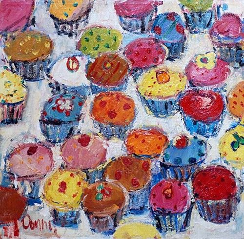 "Deborah Donnelly ""Cupcakes"" #cupcakes #delicious #baking #painting #art #whimsy #bright #DukeStreetGallery"