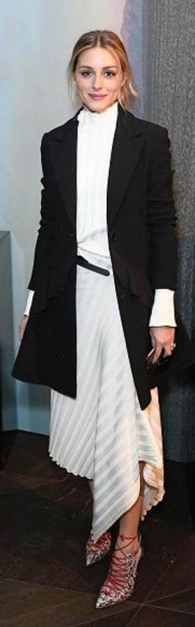Who made  Olivia Palermo's white ribbed top, skirt, black ruffle coat, and red lace up pumps?