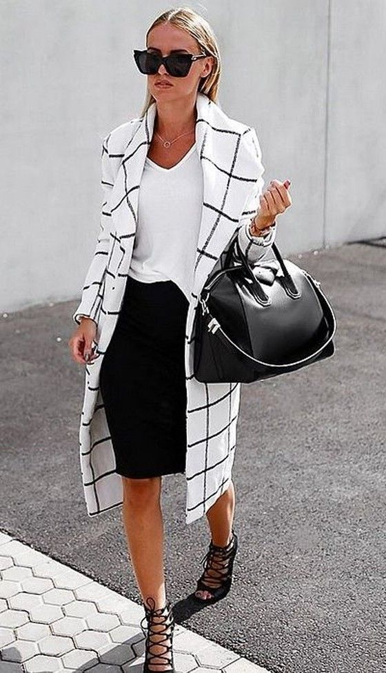 White Plaid Print Long Sleeve Turndown Collar Fashion Wool Coat - Outerwears - Tops