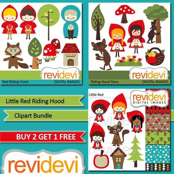 Little Red Riding Hood Clipart Bundle - This bundle includes 3 packs.  Perfect for craft projects, party printables, scrapbooking and more.