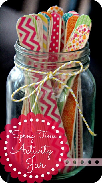 """springtime activity jar - make it ahead of time for when the kids say """"I'm bored"""""""