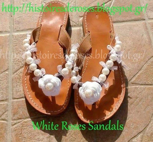 Histoires De Roses: White Roses Sandals