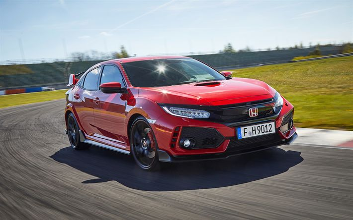 Download wallpapers Honda Civic Type R, 2017, Tuning, racing cars, red Civic, Japanese cars, racing track, Honda