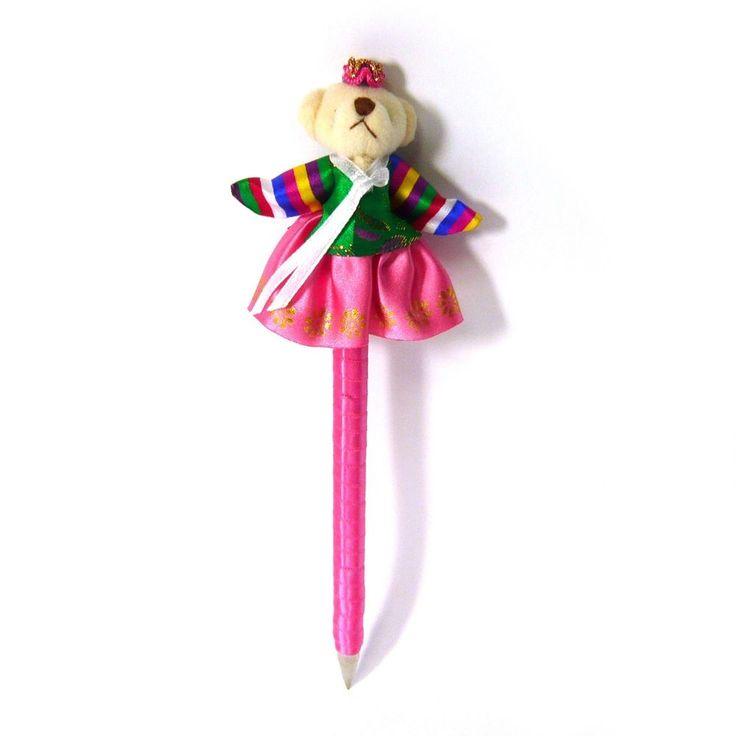 Korean Traditional Clothes Dress Hanbok Bear Hot Pink Long Black Ballpoint Pen  #Jacc