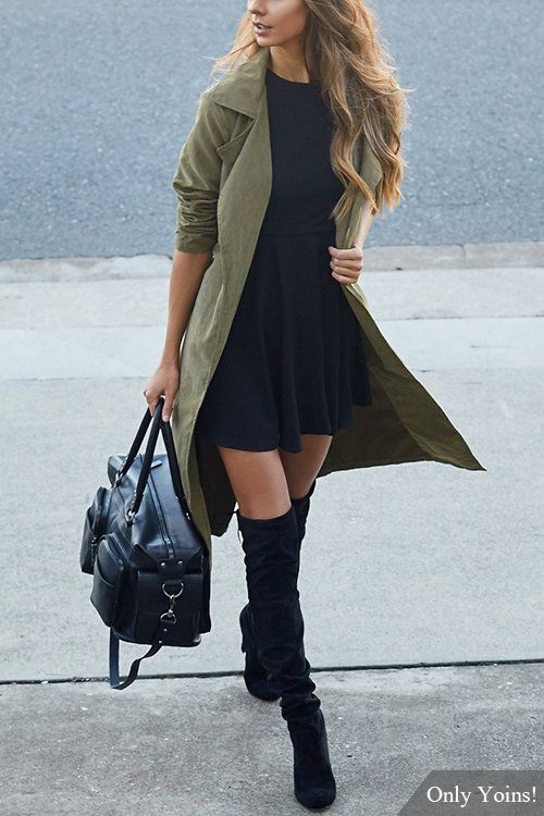 Army Green Lapel Collar Trench Coat With Self-tie Belt - US$31.95 -YOINS