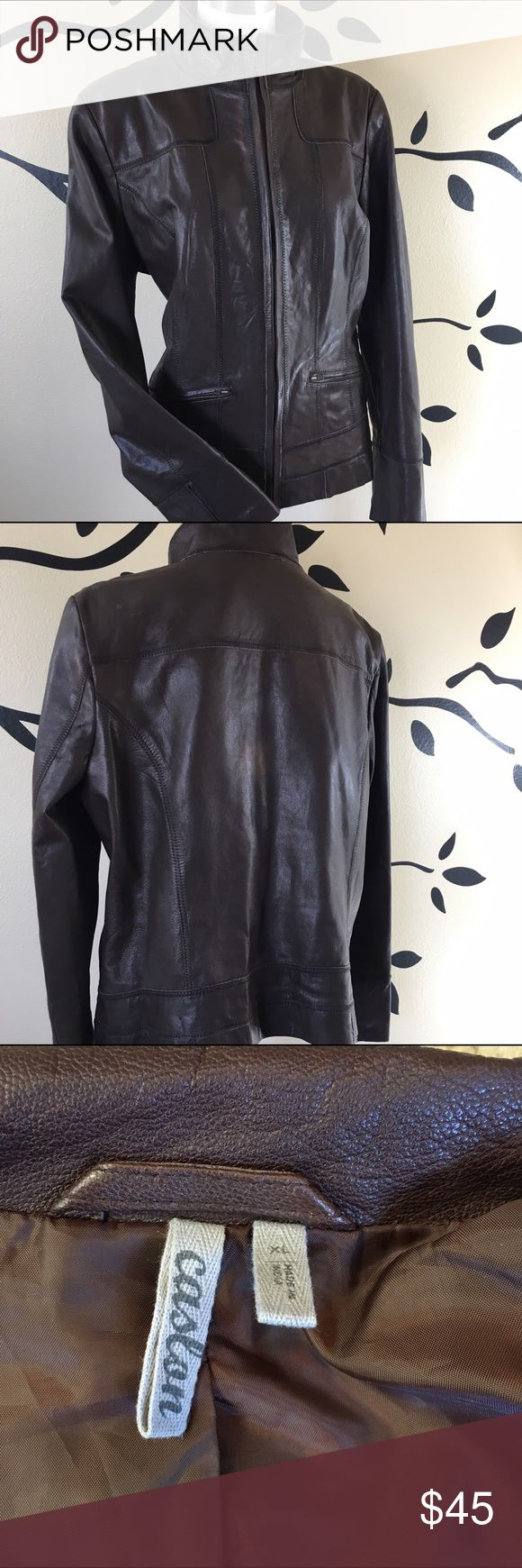 Distressed Leather Jacket 😍 Beautiful condition— Vintage-inspired motorcycle jacket fashioned from buttery-soft leather is shaped with topstitching on the front and back for feminine definition. Zipped slash pockets crossing the front complete the sleek style. Front zip closure. Stand collar. Zip cuffs. Polyester lining. Leather; professional leather clean. Nordstrom Jackets & Coats