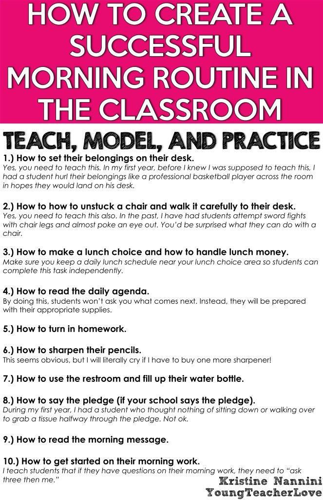 class routines Beginning and ending routines champs: a proactive and positive approach to classroom management offers several suggestions on how to begin your day or class period.