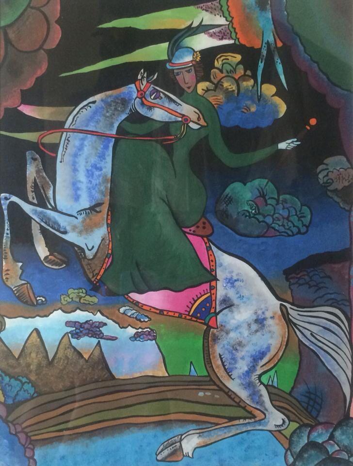 """Copia dell'opera """"Amazzone sui monti"""" di Kandinsky."""