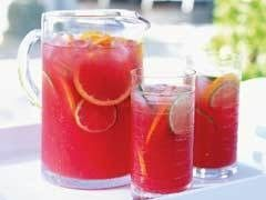 Princess Punch (sounds amazing)  Ingredients: 1 (46 oz.) can pineapple juice  1 (6 oz.) can frozen pink lemonade  2 1/2 c. water  3 (28 oz.) bottles sprite  1 qt. rasberry sherbert