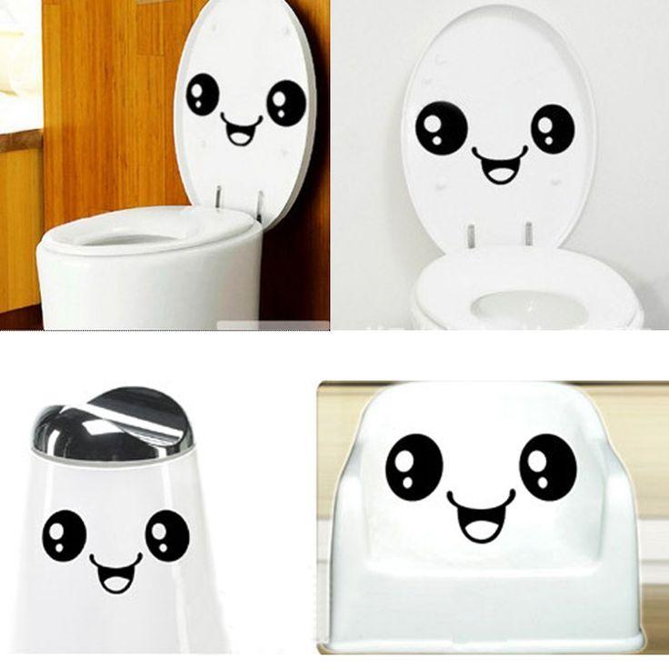 Funny Stylish Smiling Face Bathroom Toilet Stickers DIY Decal Vinyl Art poster Wall Paper refrigerator Decor adesivos de paredes