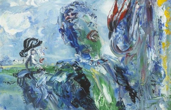 Artwork by Jack B. Yeats, SINGING 'UNDER THE CANOPY OF HEAVEN, Made of oil on board