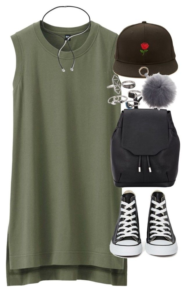 """""""Outfit with a tank dress for summer"""" by ferned on Polyvore featuring Uniqlo, Converse, rag & bone, Forever 21, Mudd and Lanvin"""