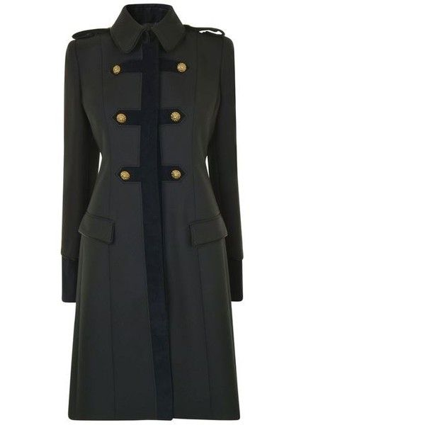 Just Cavalli Military Coat (28 520 UAH) ❤ liked on Polyvore featuring outerwear, coats, black, military coat, field coat, trench coats, padded coat and embroidered coat