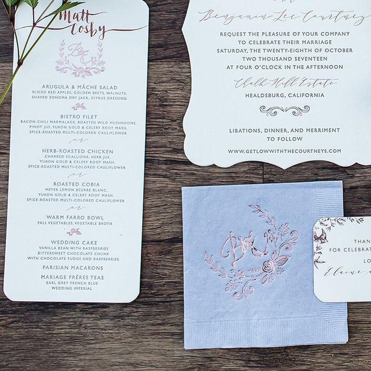 confetti daydreams wedding invitations%0A Rose Gold Foil Napkin