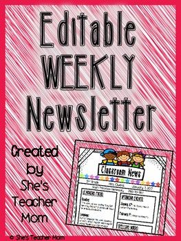 This is a Weekly Newsletter Template that allows teachers to add their weekly subjects and activities, Upcoming Events, Spelling Words, and Teacher notes.  There is a place for the teacher to add the grade level that they teacher, their name, and the date.