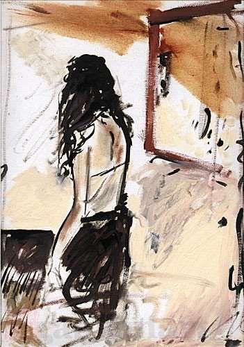 """""""Senza titolo"""", olio su foglio di tela, 1985, assieme circa cm 37×51"""
