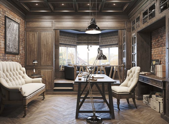 Epic Vintage Home Office Tour: Herringbone floors, coffer ceilings, and classical lighting
