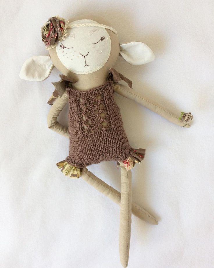 Isn't she adorable?! This sweet lamb girl is waiting for you on Etsy!   #kuklamoo .  .  .  #handmadetoy#handmadedoll#handmadewithlove#heirloomdoll#sew#handmadeshop#momlife#giftideas#kawaii#artdoll#fantasydoll#ragdoll#fabricdoll#dollmaker#heirloomtoy#kidsdesign#handembroidery#clothdoll#handcrafted#clothdollmaker#handmade#knitting#dollsofinstagram#etsyshop#instadoll#etsy#dollsofinstagram#sheep#Lamb