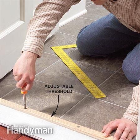 How to Raise an Adjustable Entry Door Threshold: Seal out drafts by raising the adjustable threshold on your exterior door Read more: http://www.familyhandyman.com/doors/repair/how-to-raise-an-adjustable-entry-door-threshold/view-all