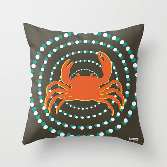 Decorative throw pillow cover Crab - Nautical pillow cover - Modern pillow - Contemporary cushion - Designer pillow case - 20x20 - 18x18