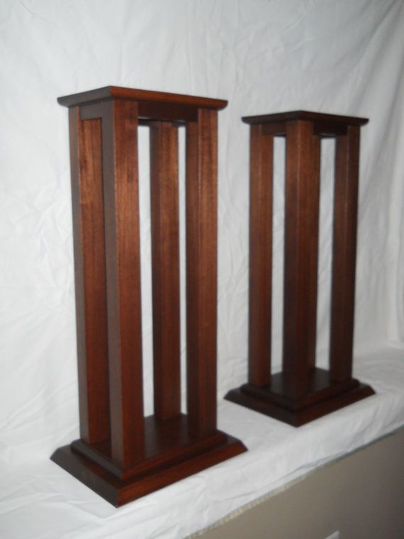 These solid wood speaker stands are hand crafted out of the wood of your choice. Choose the type of wood species from the materials list. Final price depends on the choice of wood selected. The example shown measures 28-1/2 H x 13 D x 10 W. It is made of mahogany and finished with a Rosewood stain and top coat of Antique Flat polyurethane to give it a hard durable finish. The stands come as a set of 2 and feature hand made mortise and tenon joints connecting the top to the legs and apron...
