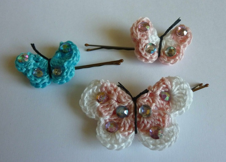 Crochet Hair Using Bobby Pin : crochet butterfly hairpins free pattern these are so cute love them