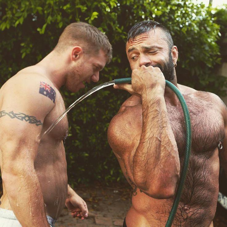 Gay bear men nude playing in mud