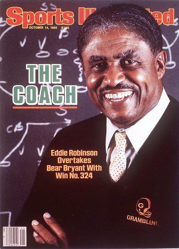Eddie Robinson, Head Coach, Gram ling University, overtakes Bear Bryant, with 324 wins.