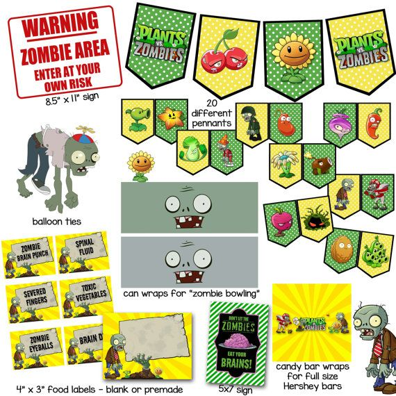 Plants vs Zombies Printables for Birthday Party by ThePaperPleaser