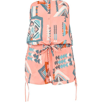 Coral aztec playsuit I need to have before the summer begins.  #aztec #playsuit #coral