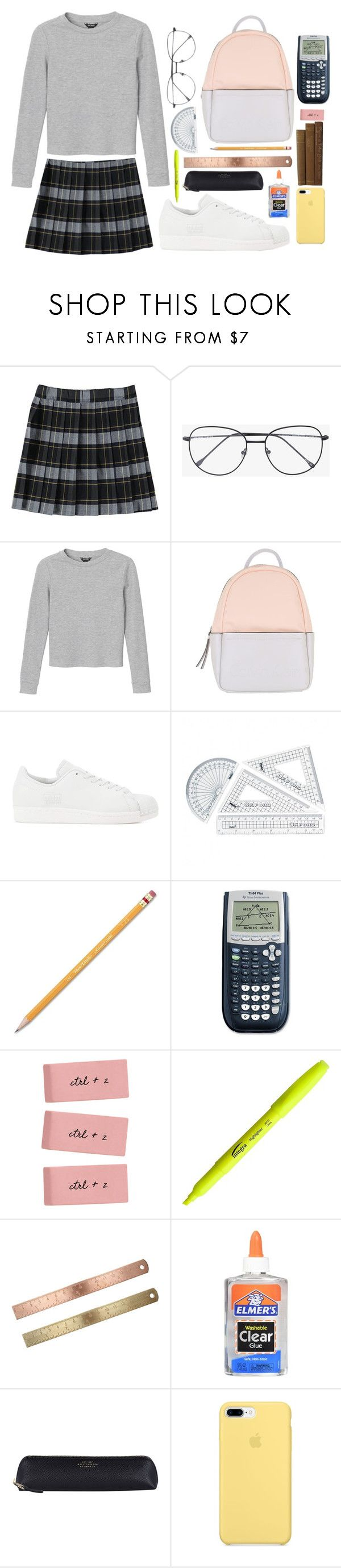 """""""Private school girl"""" by emily-2024099 ❤ liked on Polyvore featuring French Toast, Prism, Monki, Calvin Klein, adidas Originals, Paper Mate, Smythson, ja and chrislilley"""