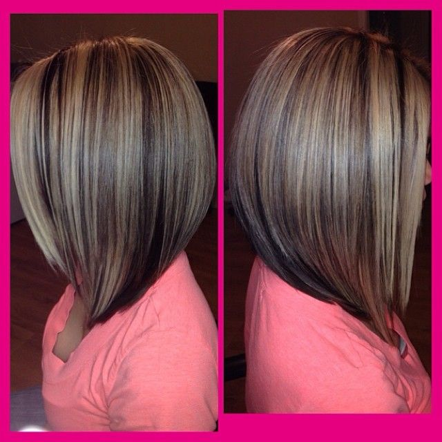Heavy partial hilite w/mocha brown under color  long bob haircut!