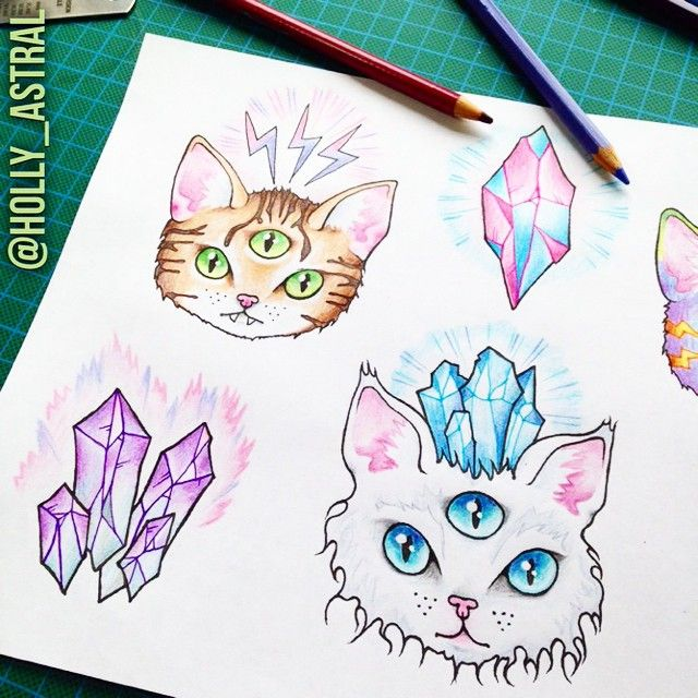 Zing! Three-eyed psychic space cats getting right up in your mind box with their mind control powers ⚡️  For more of my tattoo work follow @holly_astral on Instagram or http://holly-astral.tumblr.com/