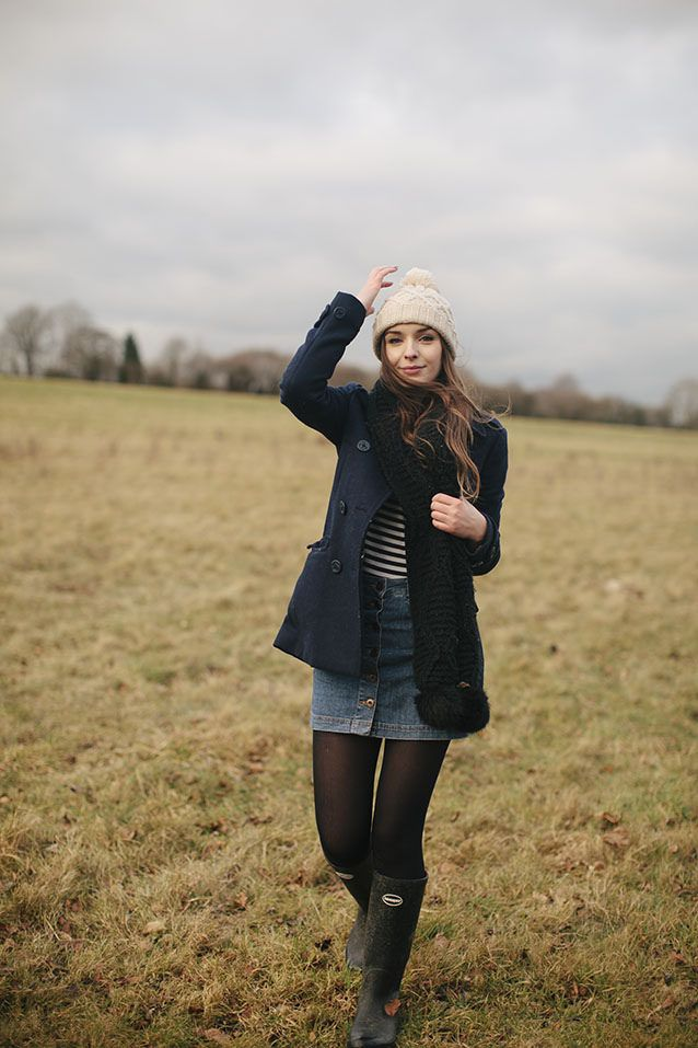 winter, walk, bobble hat, knit, denim skirt, duffle coat, fashion, wellies