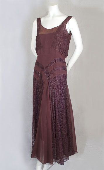 Marcelle André silk chiffon/lace evening dress, 1930s.  For those who can't get enough of 20s & 30s fashion, I recommend watching BBC's Agatha Christie's Poirot series.